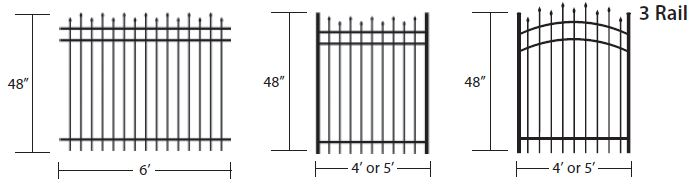 3 rail colonial fence staggered spear